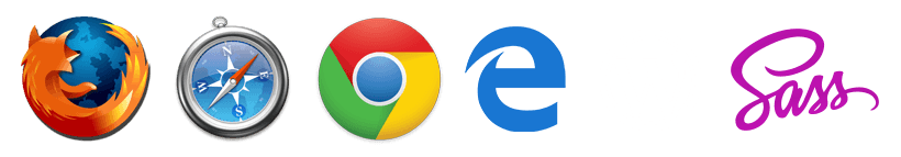 Supported website internet browser icons Firefox Chrome Safari and Edge